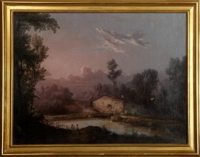 """French School, """"figures Along A Stream,"""" 19th C., Oil"""