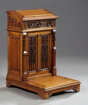 French Gothic Revival Carved Walnut Prie Dieu, 19th C.,