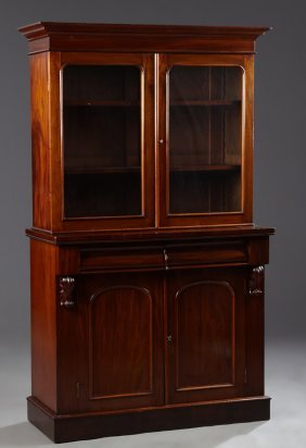 English William Iv Style Carved Mahogany Bookcase