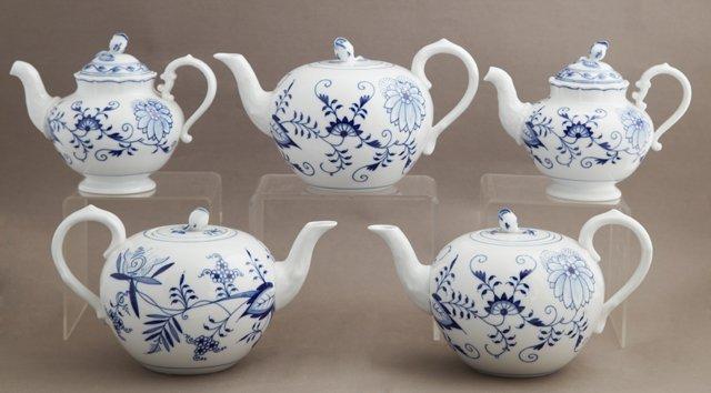 Group of Five Meissen Porcelain Tea and Coffee Pots,
