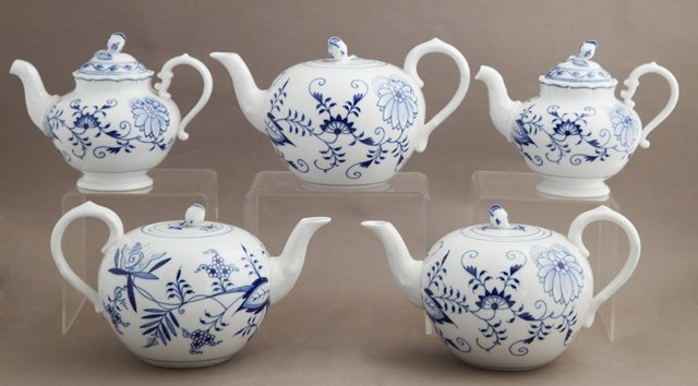 Group of Five Meissen Porcelain Tea and Coffee Pots,