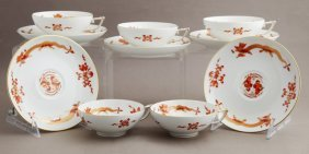 Group Of Ten Meissen Porcelain Coffee Cups And Saucers,