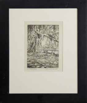 "Thomas Mansell, ""spanish Moss,"" Early 20th C., Etching,"