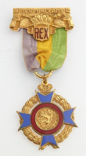 Mardi Gras- Ducal Badge, Rex, 1938, With Original