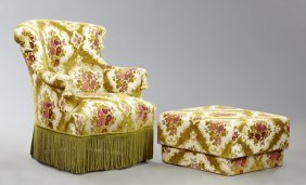 Late French Empire Style Bergere And Ottoman, Mid 20th