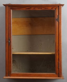 French Provincial Carved Pine Hanging Display Cabinet,