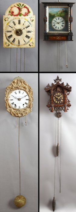 Group Of Four Wall Clocks, 19th C., Consisting Of A