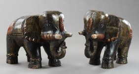 Pair Of Indonesian Polychromed Wooden Elephant Figures,