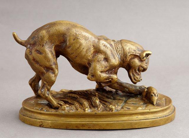"""Henri Emile Adrien Trodoux, """"Boxer Dog and a Rat,"""" 19th"""