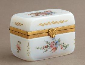 French Gilt Bronze Mounted Opaline Glass Dresser Box,