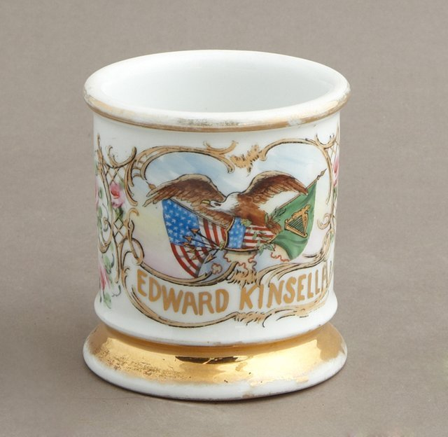 German Porcelain Barber's Shaving Mug, 19th c., by