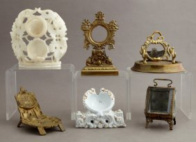Group Of Six Pocket Watch Holders, 19th C., Consisting