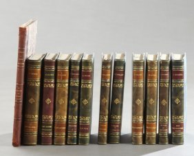 Group Of Twelve French Leather Bound Books, Early 20th