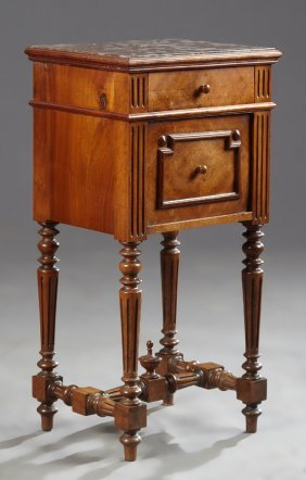 French Henri Ii Style Carved Walnut Marble Top