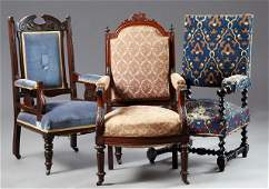 Three French Fauteuils late 19th c consisting of a