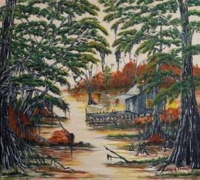 "Ann Irvine, ""louisiana Swamp Scene,"" 20th C., Oil On"