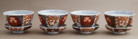 Group Of Four Imari Covered Rice Bowls, 19th C.,