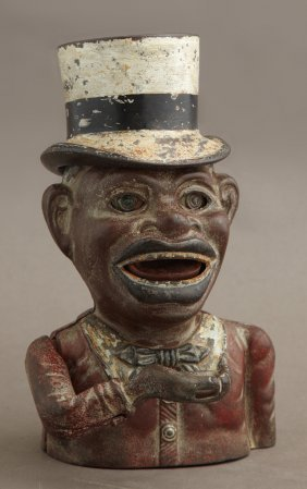 """Vintage Cast Iron """"jolly Nigger"""" Tophat Mechanical"""