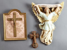 Group Of Three French Religious Items, 20th C.,