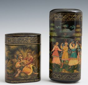 Two Russian Hand-painted Black Lacquer Oval Cylindrical