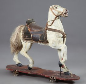 Child's Pull Toy Ride-on Caned Wooden Horse, C. 1900,