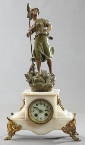 French Patinated Spelter Clock And Alabaster Figural