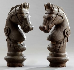 Pair Of Cast Iron Horse Head Hitching Post Tops, Early