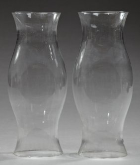 Pair Of Baluster Form Blown Glass Hurricane Shades,
