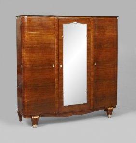 Art Deco Rosewood And Mahogany Three Door Armoire, C.