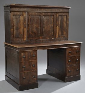 English Carved Rosewood Fall Front Secretary Desk, C.