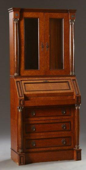 Empire-style Burl Wood Secretary Bookcase, 20th C., The