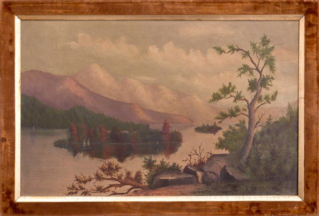 "Hudson River School, ""Lake Landscape,"" 19th c., oil on"