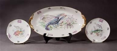 Thirteen Piece French Porcelain Fish Set, 20th c.,