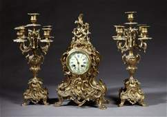 Three Piece French Bronze Clock Set 19th c by A D