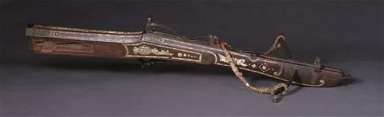 German Bone Inlaid Carved Walnut Brass Mounted