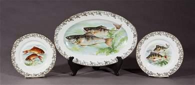 Thirteen Piece Limoges Porcelain Fish Set, 20th c.,