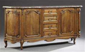 Louis XV Style Carved Walnut Marble Top Sideboard, 20th