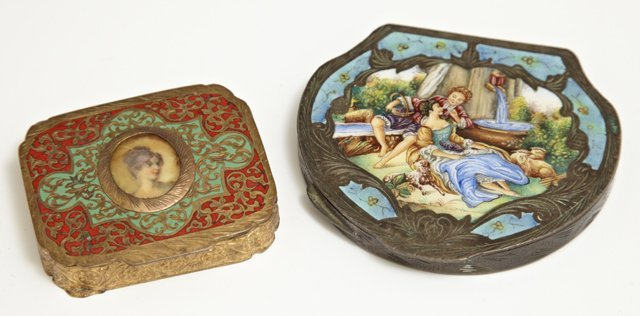 Two Italian Enamel Compacts, early 20th c., one of gilt