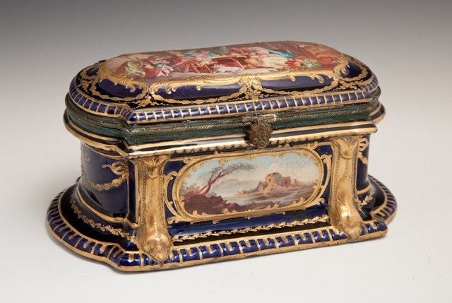 Bronze Mounted Sevres Porcelain Jewelry Box, 18th c.,