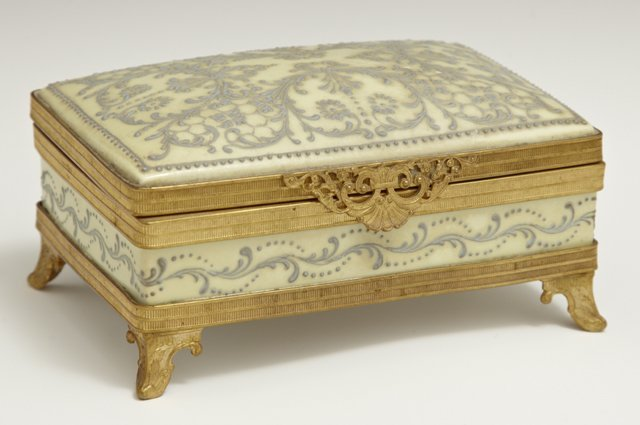 French Bronze Mounted Limoges Dresser Box, c. 1900,