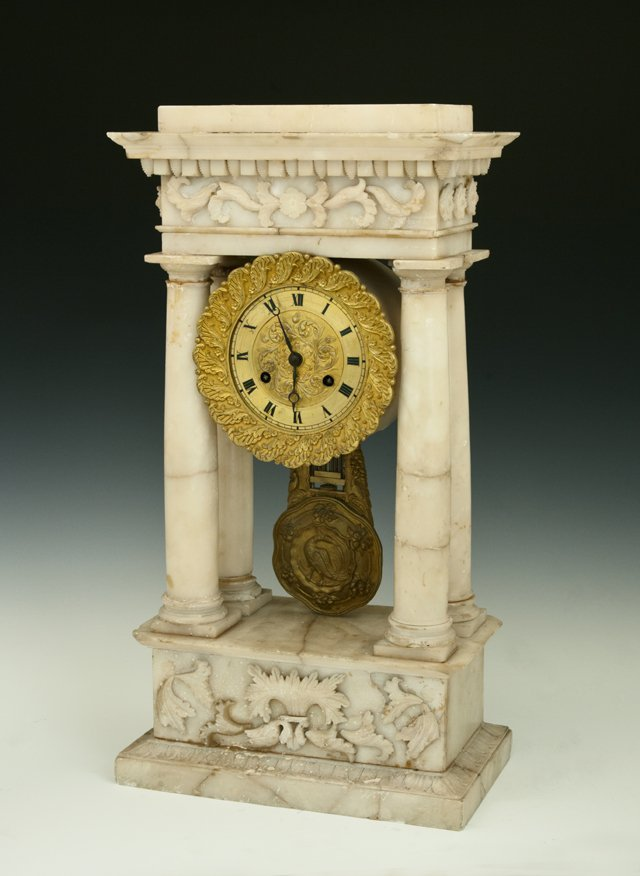 French Carved Marble Portico Clock, 19th c., time and