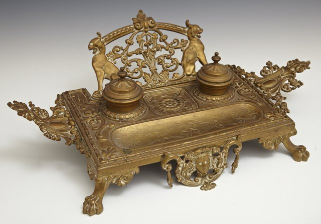 Gilt Bronze Renaissance Style Inkwell Pen Tray, late