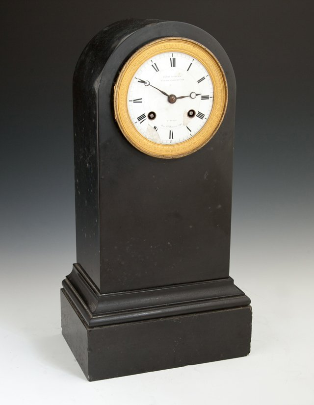 French Black Marble Mantel Clock, 19th c., the domed