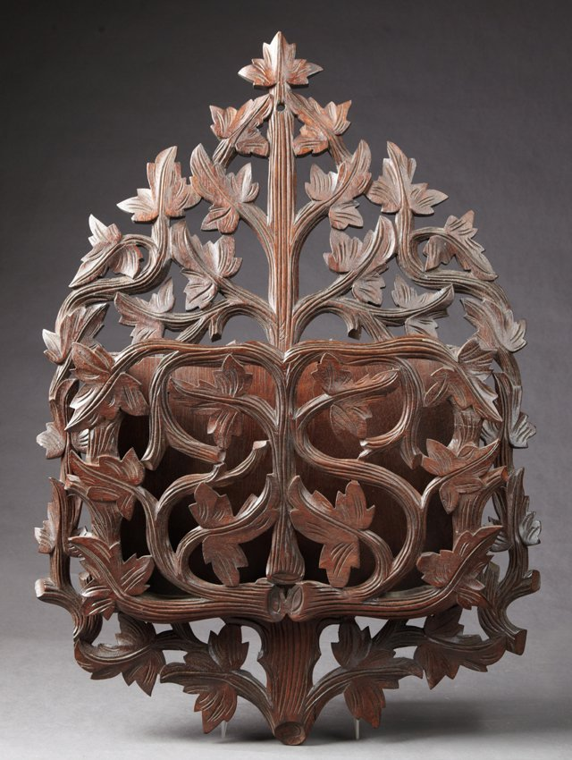 Black Forest Style Pierce Carved Mahogany Wall Rack, c.
