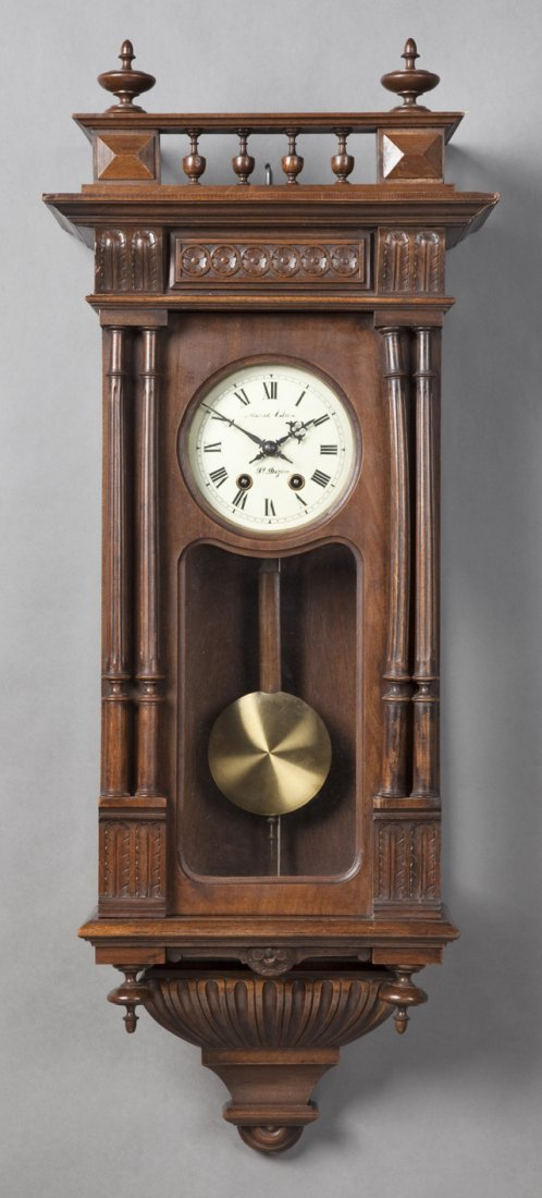 French Carved Walnut Henri II Style Wall Clock, 19th