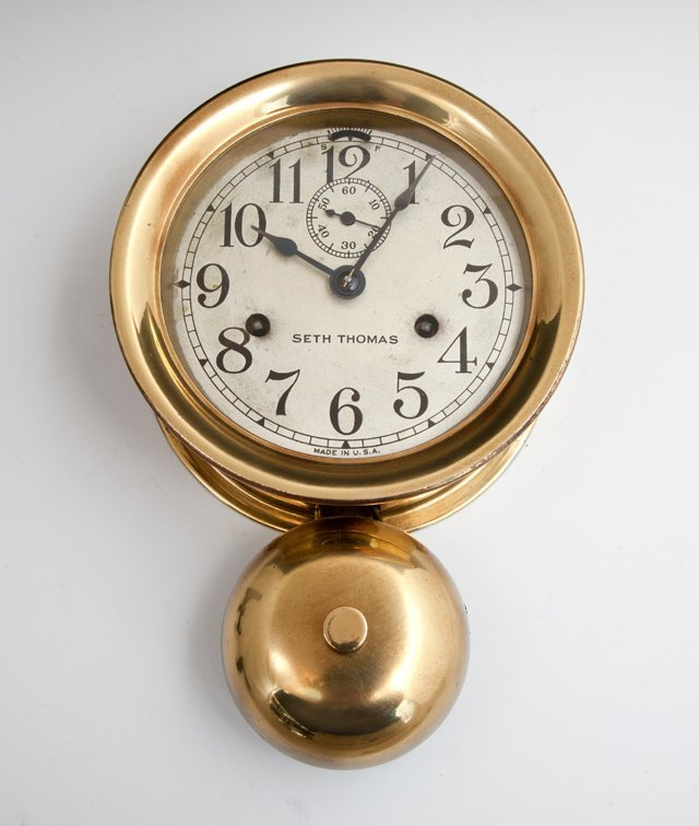 Seth Thomas Brass Ship's Clock, 20th c., with bell,