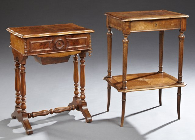 Two French Carved Walnut Work Tables, 19th c., the