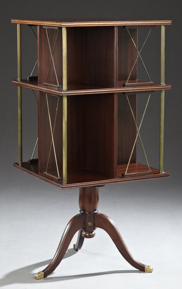 English Style Carved Mahogany and Brass Revolving