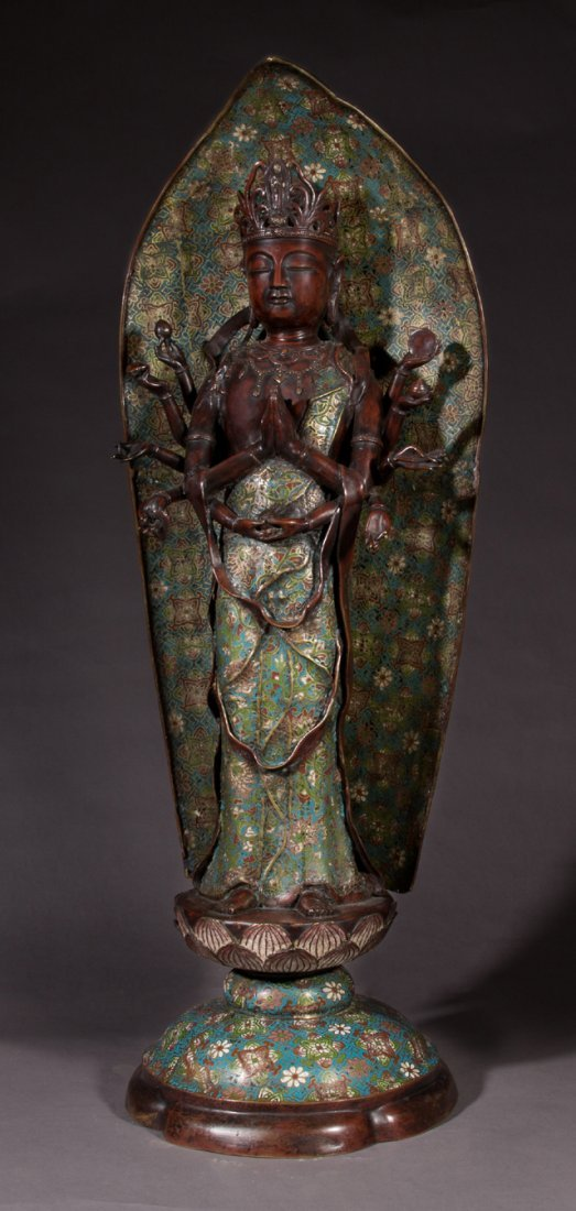 Rare Oriental Patinated Bronze and Cloisonne