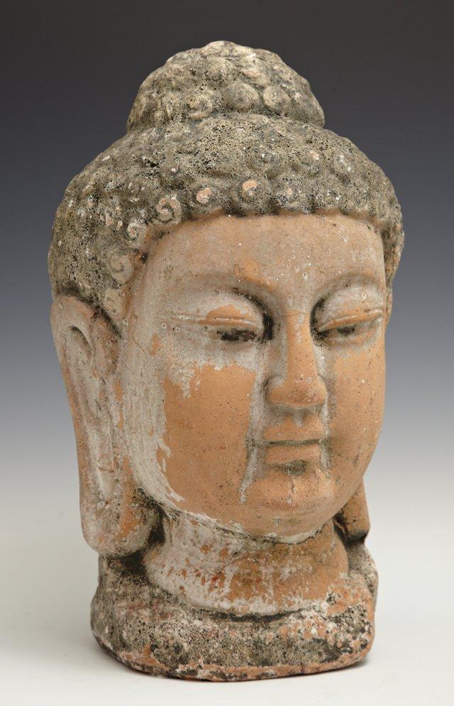 Terracotta Buddha Head Garden Ornament, 20th c., H.- 12